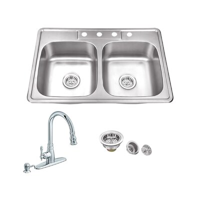 33 x 22 Double Bowl Drop-In Stainless Steel Kitchen Sink with Faucet Faucet Finish: Polished Chrome