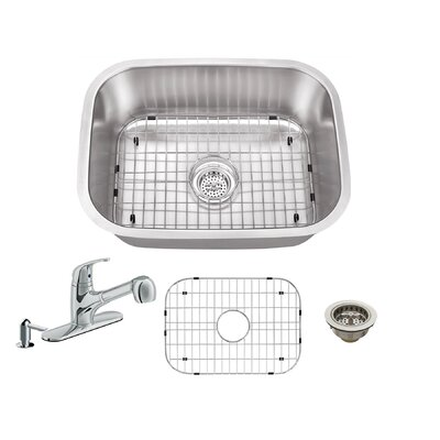 23.5 x 17.75 Single Bowl Undermount Stainless Steel Kitchen Sink with Faucet Faucet Finish: Polished Chrome