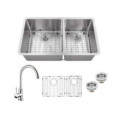 Radius 16 Gauge Stainless Steel 32 x 19 60/40 Double Bowl Undermount Kitchen Sink with Gooseneck Faucet Faucet Finish: Polished Chrome