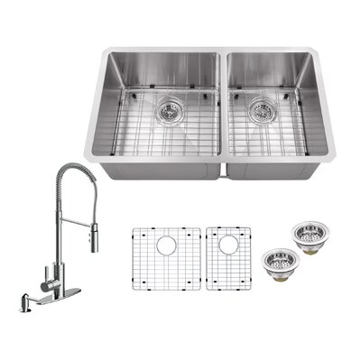Radius 16 Gauge Stainless Steel 32 x 19 60/40 Double Bowl Undermount Kitchen Sink with Pull Out Faucet and Soap Dispenser Faucet Finish: Polished Chrome