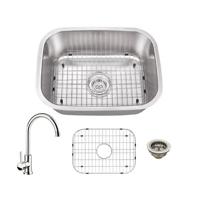 21.5 x 16 Single Bowl Kitchen Sink with Faucet Faucet Finish: Polished Chrome