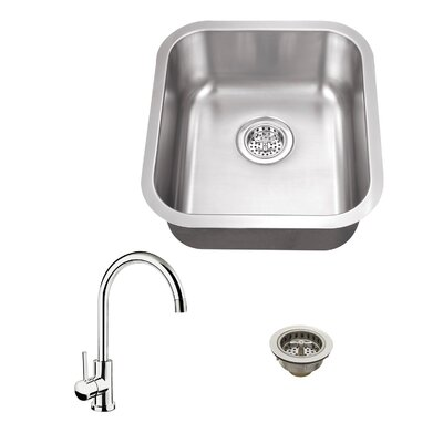 16.13 x 18 18 Single Bowl Bar Sink with Faucet Faucet Finish: Polished Chrome