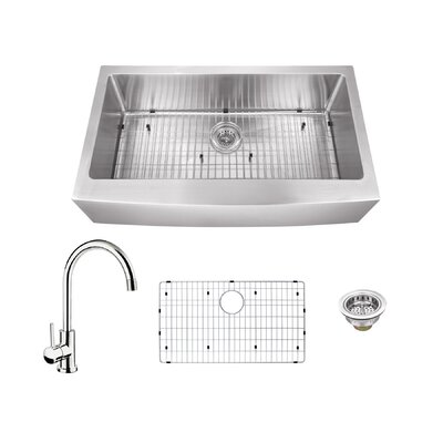 16 Gauge Stainless Steel 35.88 x 20.75 Farmhouse/Apron Kitchen Sink with Gooseneck Faucet Faucet Finish: Polished Chrome