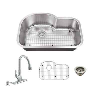31.5 x 21.13 Single Bowl Undermount Kitchen Sink with Faucet Faucet Finish: Polished Chrome