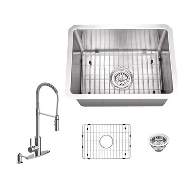 Radius 16 Gauge Stainless Steel 15 x 20 Undermount Bar Sink with Pull Out Faucet and Soap Dispenser Faucet Finish: Polished Chrome