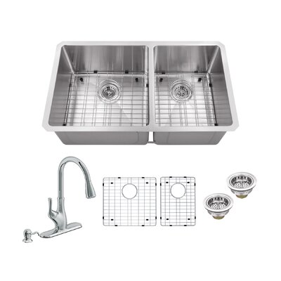 Radius 16 Gauge Stainless Steel 32 x 19 60/40 Double Bowl Undermount Kitchen Sink with Faucet and Soap Dispenser Faucet Finish: Polished Chrome