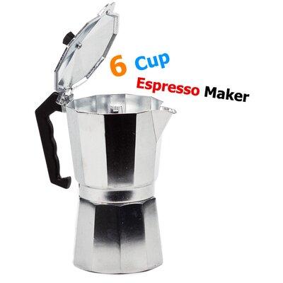 6 Cup Aluminum Stovetop Espresso Coffee Maker 02-3010-6