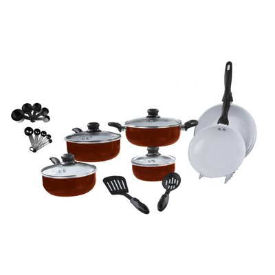 Basics 22 Piece Non-Stick Cookware Set Color: Red MW3145