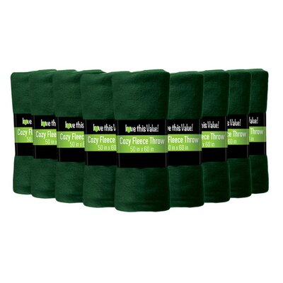 Soft Warm Fleece Throw Blanket Color: Dark Green