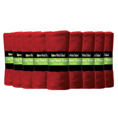 Soft Warm Fleece Throw Blanket Color: Red