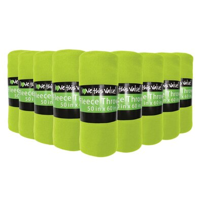 Soft Warm Fleece Throw Blanket Color: Lime Green