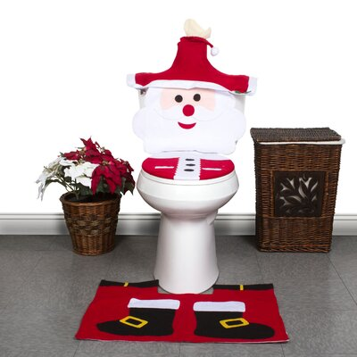 Jolly Santa Clause 3 Piece Bath Mat Set