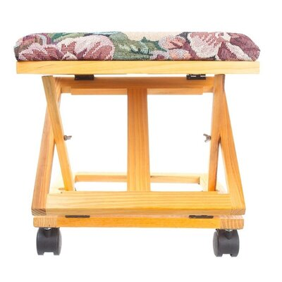 Adjustable Foot Stool Floral Tapestry Footrest