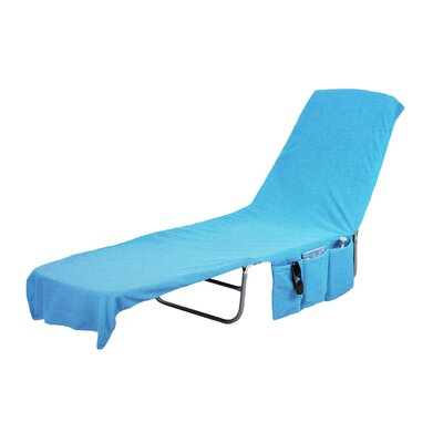 Image of 2 in 1 Terry Cloth Chaise Pool Lounge Cover Beach Towel and Tote with Pockets Color: Blue