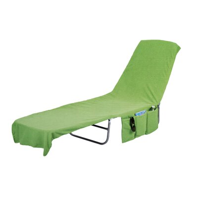 Image of 2 in 1 Terry Cloth Chaise Pool Lounge Cover Beach Towel and Tote with Pockets Color: Green