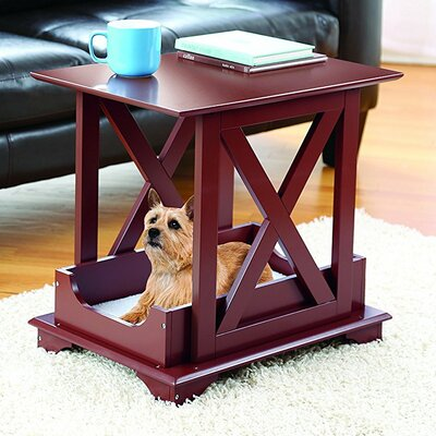 Allgood Wooden Pet Bed End Table with Removable Fleece Cushion