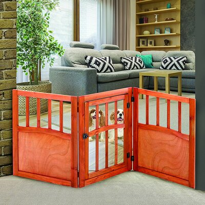 Sturdy Wooden Freestanding Wide Pet Dog Lightweight Barrier Gate with Door