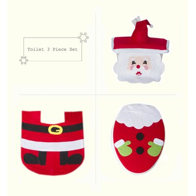 Merry Santa Clause Bathroom Christmas Decoration Toilet Seat Cover with Bathroom Mat