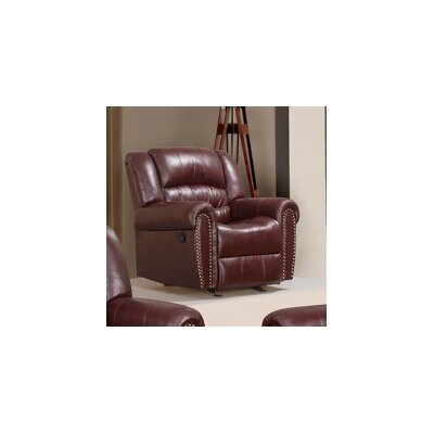 Baxley Rocker Reclining Chair Upholstery: Burgundy
