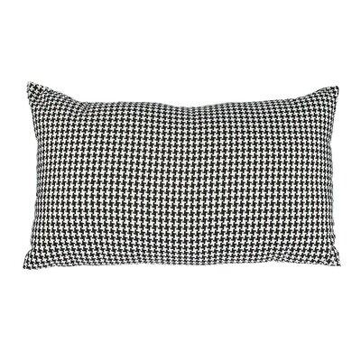 Southborough Woven Houndstooth Cotton Lumbar Pillow Color: Black
