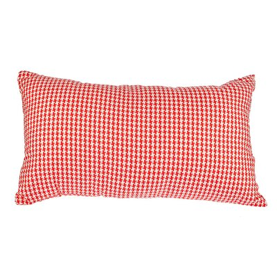 Southborough Woven Houndstooth Cotton Lumbar Pillow Color: Red