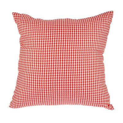 Southborough Woven Houndstooth Cotton Throw Pillow Color: Red