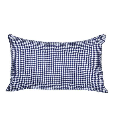 Southborough Woven Houndstooth Cotton Lumbar Pillow Color: Royal