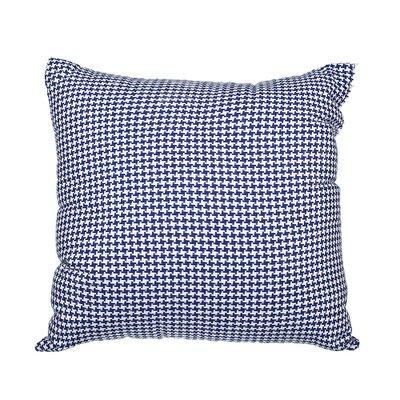 Southborough Woven Houndstooth Cotton Throw Pillow Color: Royal