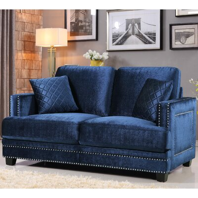 655Navy-L MRUS1276 Meridian Furniture USA Ferrara Nailhead Loveseat Upholstery