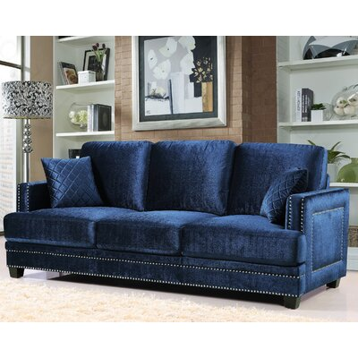 655Navy-S MRUS1281 Meridian Furniture USA Ferrara Nailhead Sofa Upholstery