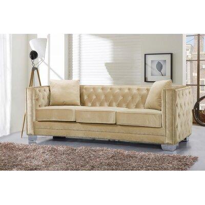 Creekside Velvet Chesterfield Sofa Upholstery: Beige