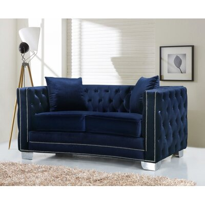 Creekside Velvet Chesterfield Loveseat Upholstery: Navy