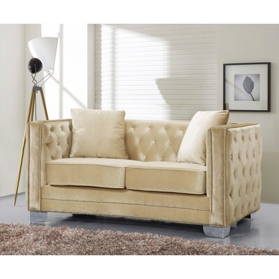 Creekside Velvet Chesterfield Loveseat Upholstery: Beige