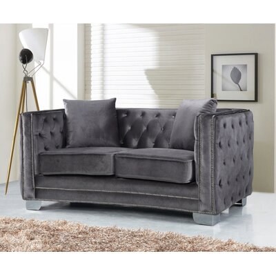 Creekside Velvet Chesterfield Loveseat Upholstery: Grey