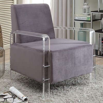Devonshire Velvet Armchair Upholstery Color: Grey