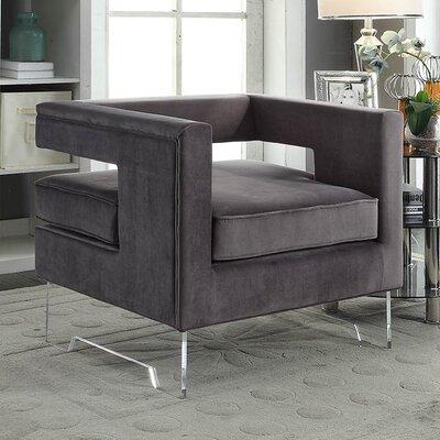 Evergreen Velvet Armchair Upholstery Color: Grey
