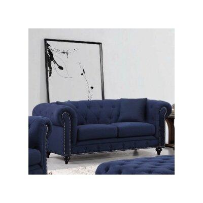 Garrett Chesterfield Loveseat Upholstery: Navy Linen