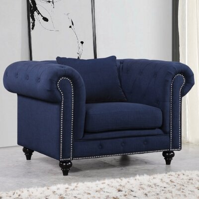 Garrett Barrel Chair; Chesterfield Chair Upholstery Color: Navy