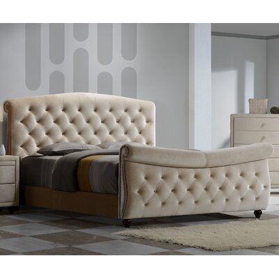 Diamond Upholstered Panel Bed Size: King