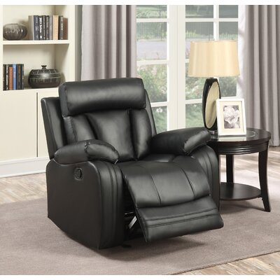 Martha Leather Glider Recliner Color: Black