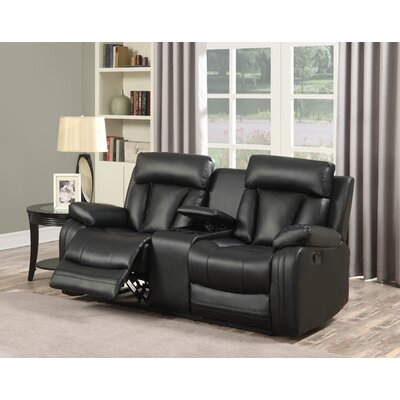 Martha Reclining Loveseat Upholstery: Black