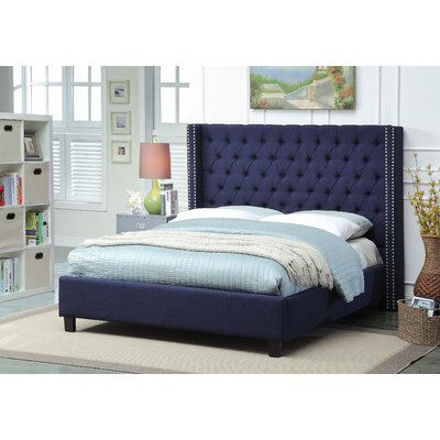 Park Upholstered Platform Bed Size: Twin, Color: Navy
