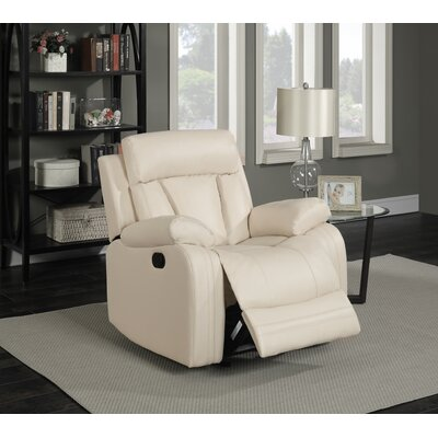 Martha Leather Glider Recliner Color: Beige