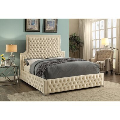 Schroeder Upholstered Platform Bed Size: King, Color: Cream