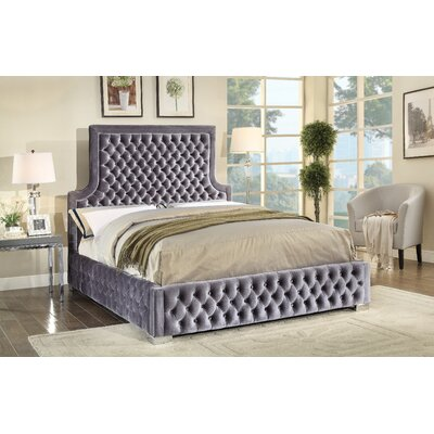 Schroeder Upholstered Platform Bed Size: King, Color: Grey