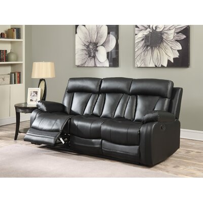 Martha Reclining Sofa Upholstery: Black