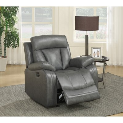 Martha Leather Manual Glider Recliner Color: Grey