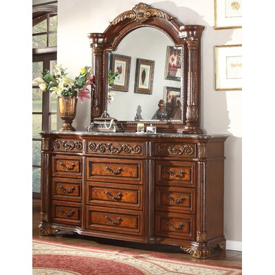 Anella 9 Drawer Dresser with Mirror