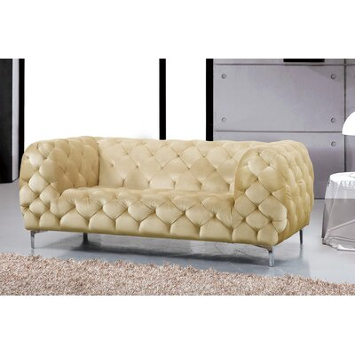 Riverside Chesterfield Loveseat Upholstery: Beige