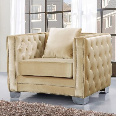 Creekside Velvet Club Chair Upholstery Color: Beige